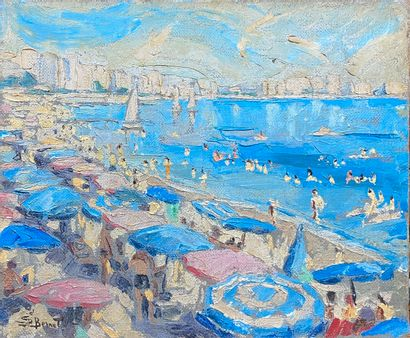 BERNAT S., 20th century  Seaside with parasol  oil on canvas (accident), signed...
