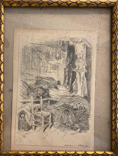 MOUTTE Alphonse, 1840-1913  Petit intérieur...