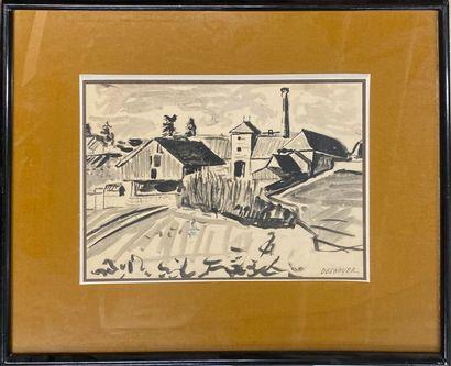 DESNOYER François, 1894-1972  L'usine  Encre...