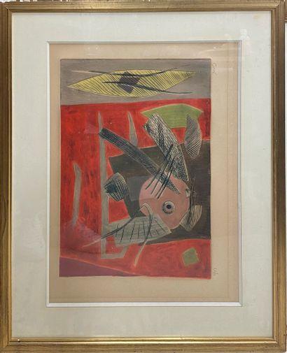 GOETZ Henri (1909-1989)  Composition,  Eau forte en couleurs (insolation taches,...