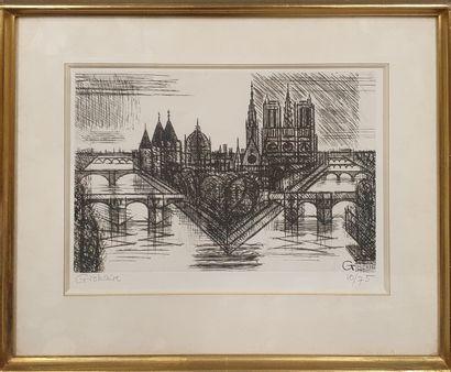 GROMAIRE Marcel, 1892-1971,  Paris, la Cité, 1952,  pointe sèche en noir, n°10/75...