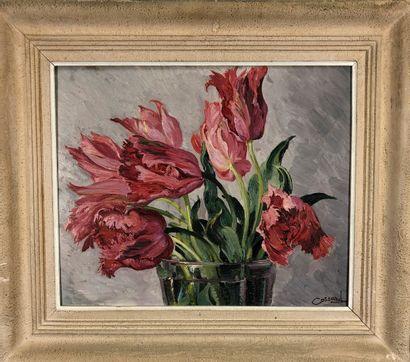 COSSARD Adolphe, 1880-1952  Tulipes perroquet...