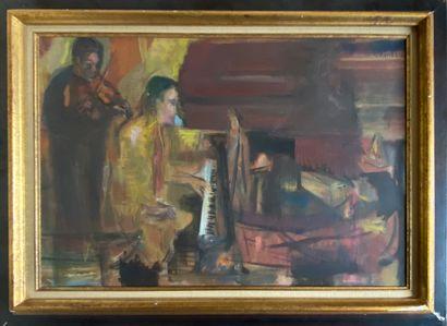 PAPAZIAN Samuel, né en 1929  Duo  huile sur...