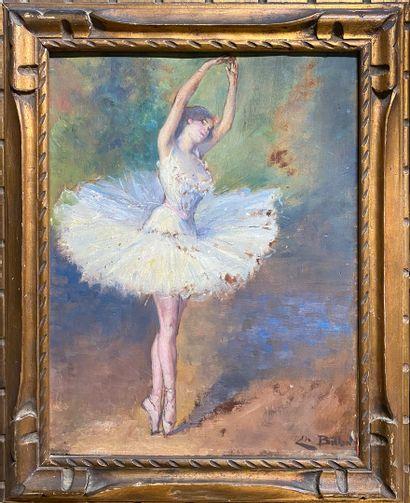 BILLON Charles, XIXe-XXe siècle,  Ballerine en 5ème position, bras couronne,  huile...