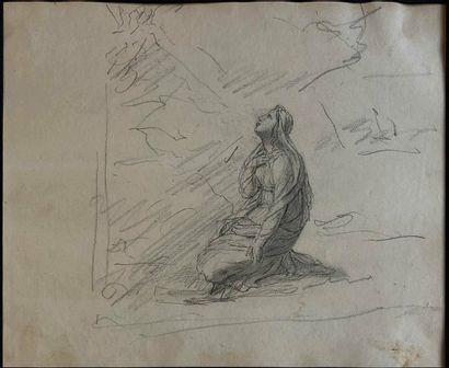 ÉCOLE FRANÇAISE XIXe siècle  Vierge agenouillée...