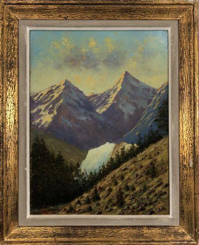 HAGIER, XXe siècle  Paysage de montagne  huile...