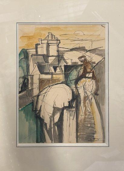 DESPIERRE Jacques, 1912-1995  Homme à cheval...
