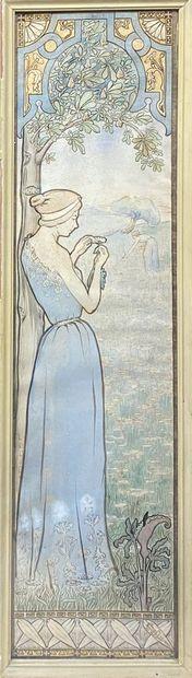 DEFLIN Gustave, 1875-1950  Lucie, 1896  aquarelle...