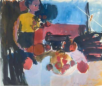 DIAZ Gérard, né en 1938  La table mise, 1961...