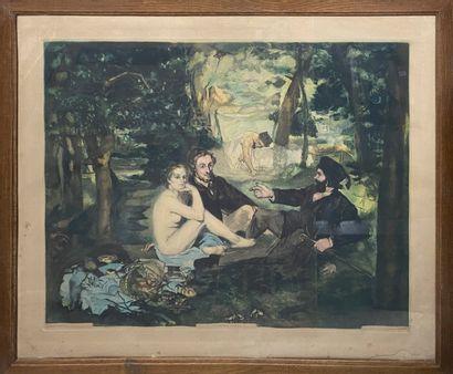 VILLON Jacques, 1875-1963, d'après MANET,   Le déjeuner sur l'herbe,aquatinte en...