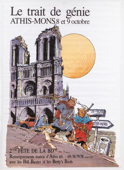 Artiste - Didier CONVARD (1950-). «Le trait de génie 1988, Athis-Mons» 1988. 156,5x118cm...
