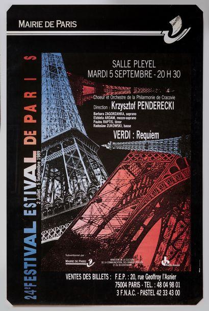 Anonyme – «Festival estival, Paris» 1989. 178x118cm / 70x46,5in. Affiche originale,...