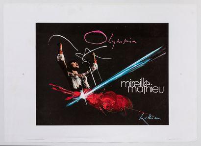 Artist - Georges MATHIEU (1921/2012) - Olympia Mireille Mathieu. 51X72cm /20x28.3in....