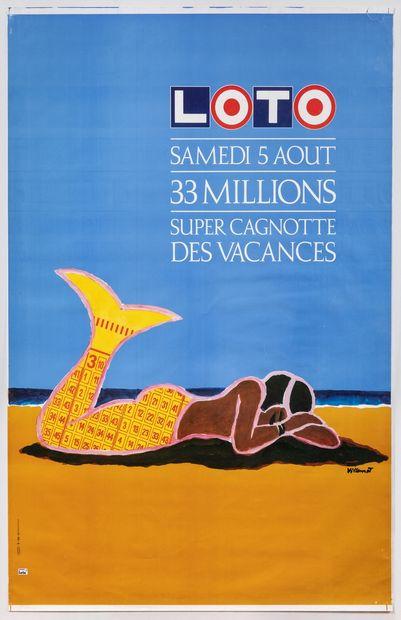 Artiste – Bernard VILLEMOT (1911-1989) – «Loto». Imp Karcher.175x118,5cm / 67,8x46,5in....
