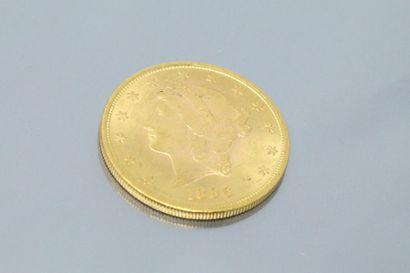 """ETATS-UNIS  Pièce en or de 20 dollars """" Liberty Head - Double Eagle """" 1896    Poids..."""