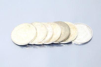 7 pièces de 50 francs en argent de type Hercule....