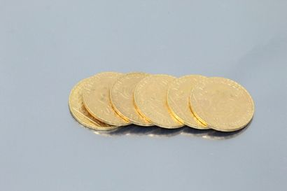 Six gold coins 20 francs Rooster 1909 (x2)...