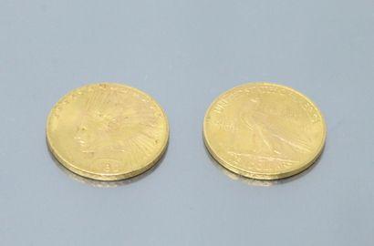 Lot composé de deux pièces en or de 10 dollars...