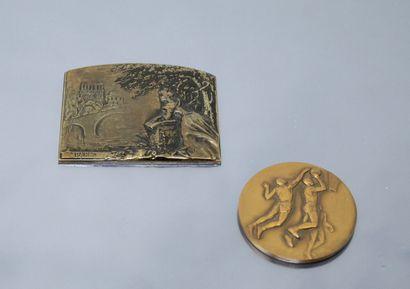 Médaille de table en bronze une élégante...