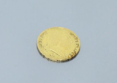 Gold coin of 20 francs Louis XVIII Bust nude...