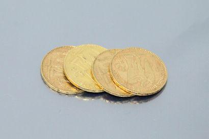 Four gold coins 20 francs Genie 1886 A -...