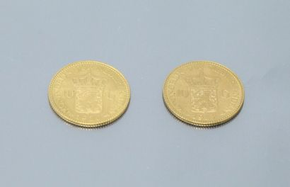 NETHERLANDS  Two gold coins of 10 Gulden...