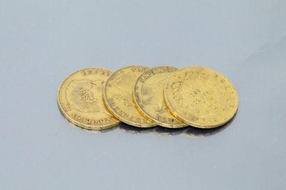 Lot composé de quatre pièces en or de Napoléon...