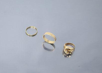 Lot d'or jaune 18k (750) comprenant deux...