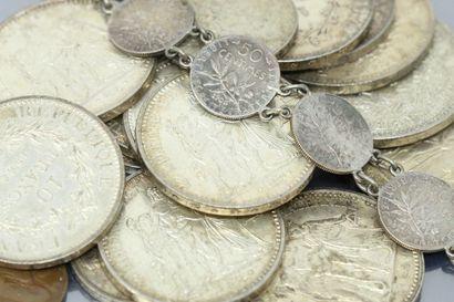 Lot de pièces en argent  Poids : 409 g.
