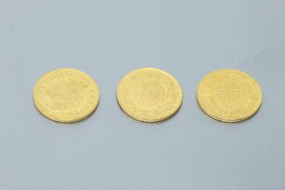 Lot composé de trois pièces en or de 20 Lires...