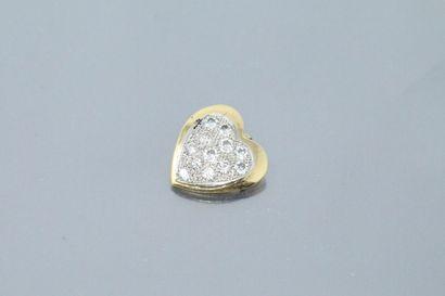 Pendentif coeur en or jaune et gris 18k (750)...