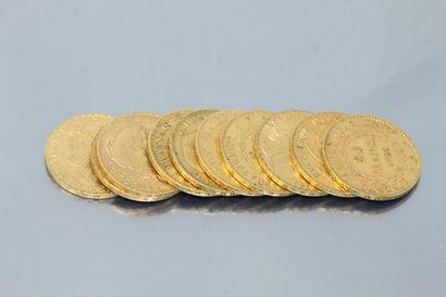 Coin set of ten gold coins comprising :  -...