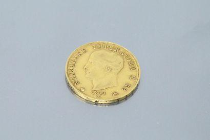 ROYAUME NAPOLEONIEN D'ITALIE  Pièce en or de 40 lire 1814 M  Avers : NAPOLEONE IMPERATORE...
