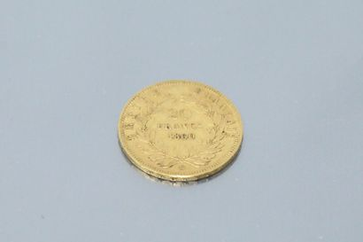 Gold coin of 20 Francs Napoleon III bare...
