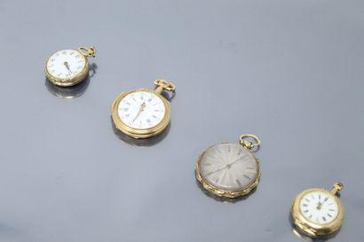Lot de 4 montres de gousset en or jaune 18k...