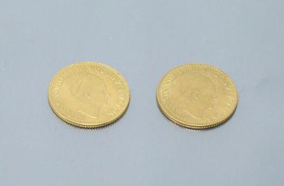 PAYS-BAS  Deux pièces en or de 10 Gulden - Wilhelmina I 1926 - 1932. TTB.    Poids...