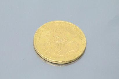 """ETATS-UNIS  Pièce en or de 20 dollars """" Liberty Head - Double Eagle """" avec devise..."""