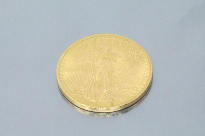 """Pièce en or de 20 dollars """"Saint-Gaudens - Double Eagle""""  Poids : 33.42 g."""