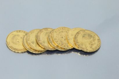 Lot of eight 20 francs gold coins Napoleon...