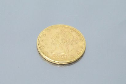 """Pièce en or de 10 dollars """" Coronet Head - Eagle """" 1897.  TTB.  Poids : 16,7 g"""