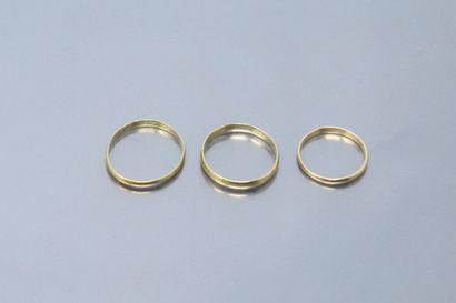 Débris : trois alliances en or jaune 18k...
