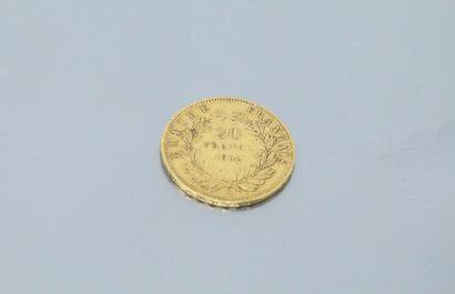 Gold coin of 20 Francs Napoleon III bareheaded,...
