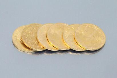 Six pièces en or de 20 francs Helvetia,(1947...