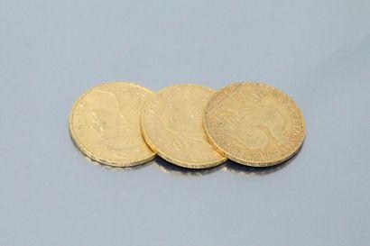 Three gold coins 20 francs Coq 1904 - 1909...