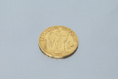 Gold coin of 20 francs to the Genie, 1875...