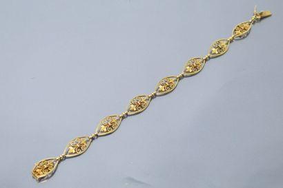 Bracelet en or jaune 18k (750), à mailles...