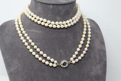 Collier de perles de culture choker double...