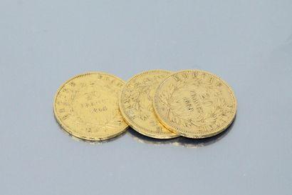 Three gold coins 20 francs Napoleon III