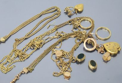Lot de débris d'or jaune 18k (750)  Poids...
