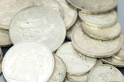 Lot de pièces francaises en argent 50 francs...